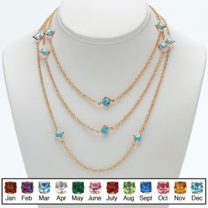 Princess-Cut Birthstone Necklace