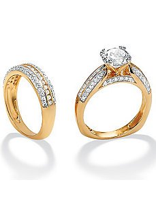 Roundcubic zirconia Squared Wedding Ring Set by PalmBeach Jewelry