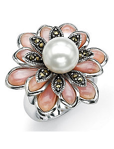 Cultured Pearl Marcasite Ring by PalmBeach Jewelry