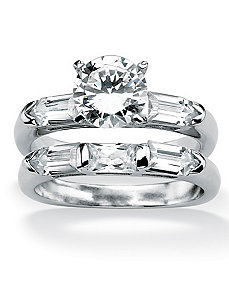 Cubic Zirconia Squared Wedding Ring Set by PalmBeach Jewelry