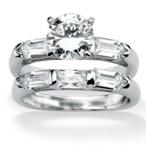 Cubic Zirconia Squared Wedding Ring Set