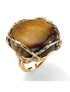 Channel-Set Tiger's-Eye Ring by PalmBeach Jewelry