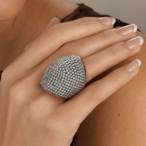 Roundcubic zirconia Dome Ring