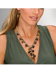 Tigers-Eye Dangling Jewelry Set by PalmBeach Jewelry