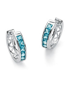 Birthstone Huggie-Hoop Earrings by PalmBeach Jewelry