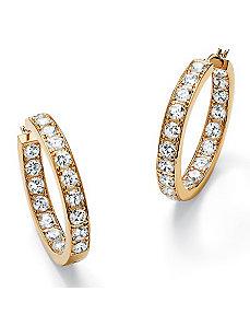 Cubic Zirconia Inside-Out Hoop Pierced Earrings by PalmBeach Jewelry