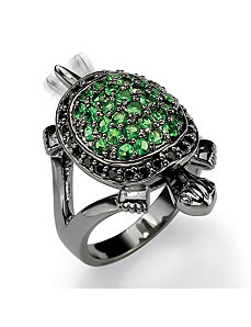 Green Glass/Cubic Zirconia Turtle Ring by PalmBeach Jewelry