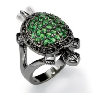 Green Glass/Cubic Zirconia Turtle Ring