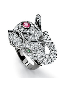 Cubic Zirconia/Ruby Elephant Ring by PalmBeach Jewelry