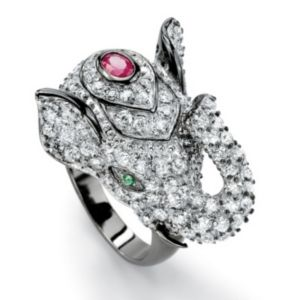 Cubic Zirconia/Ruby Elephant Ring