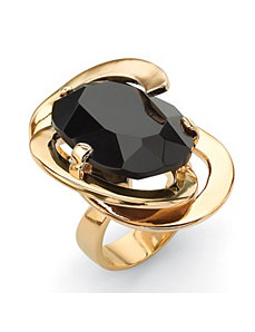 Black Glass Abstract Ring by PalmBeach Jewelry