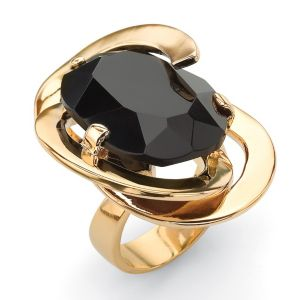 Black Glass Abstract Ring