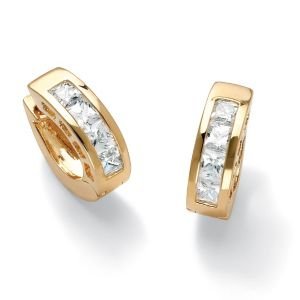 Cubic Zirconia Huggie Hoop Pierced Earrings