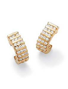 Channel-Set Cubic Zirconia Semi-Hoop Earrings by PalmBeach Jewelry