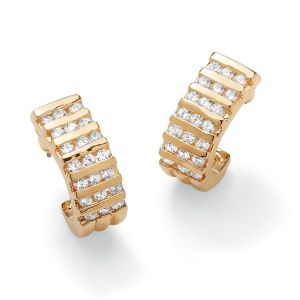 Channel-Set Cubic Zirconia Semi-Hoop Earrings
