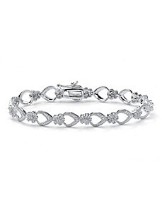 Diamond Flower-Link Bracelet by PalmBeach Jewelry