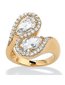 Pear-Shaped & Round Cubic Zirconia Bypass Ring by PalmBeach Jewelry