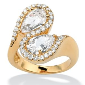 Pear-Shaped & Round Cubic Zirconia Bypass Ring