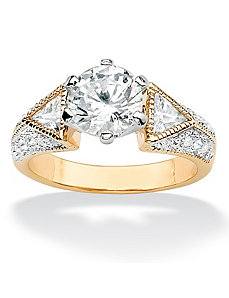 Round & Trilliant Cubic Zirconia Ring by PalmBeach Jewelry