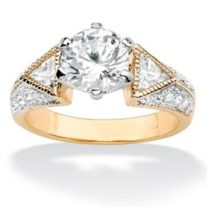 Round & Trilliant Cubic Zirconia Ring