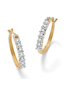 Diamond Oval Hoop Pierced Earrings by PalmBeach Jewelry