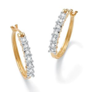 Diamond Oval Hoop Pierced Earrings