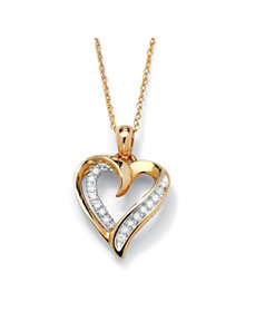 Diamond Heart-Shaped Pendant by PalmBeach Jewelry