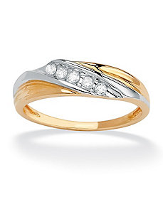 Cubic Zirconia Diagonal Wedding Band by PalmBeach Jewelry