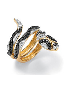 Black Diamond Accent Snake Ring by PalmBeach Jewelry