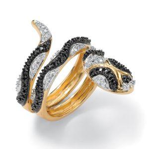 Black Diamond Accent Snake Ring
