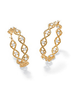 Cubic Zirconia Twisted Hoop Pierced Earrings by PalmBeach Jewelry
