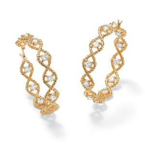 Cubic Zirconia Twisted Hoop Pierced Earrings