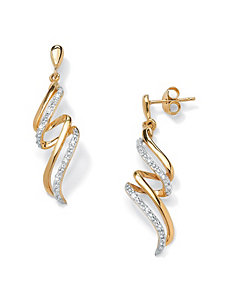 Diamond Accent Ribbon Earrings by PalmBeach Jewelry