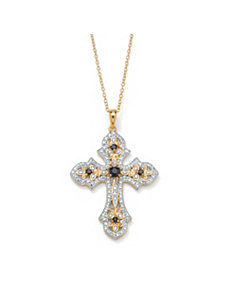 Sapphire/Diamond Acc. Cross Pendant by PalmBeach Jewelry