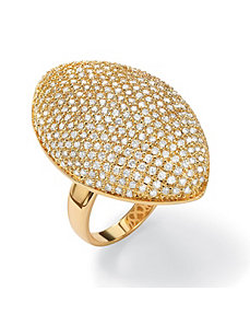 Round Cubic Zirconia Marquise-Shaped Dome Ring by PalmBeach Jewelry