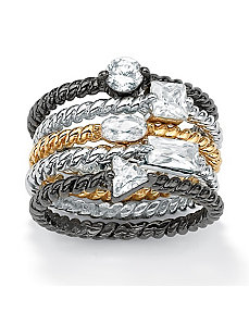 Set of Five Cubic Zirconia Stackable Rings by PalmBeach Jewelry