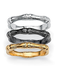 Set of Three Bamboo Stackable Rings by PalmBeach Jewelry