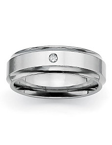 Diamond Accent Grooved Band by PalmBeach Jewelry