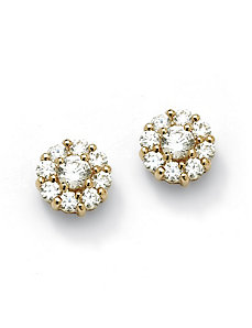 Round Multi-Cubic Zirconia Stud Earrings by PalmBeach Jewelry