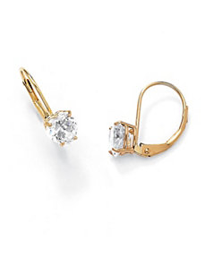 Heart-Shaped Cubic Zirconia Pierced Earrings by PalmBeach Jewelry