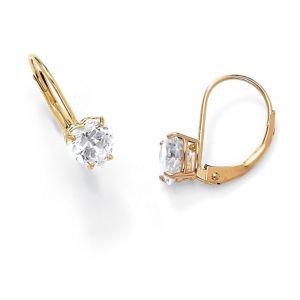 Heart-Shaped Cubic Zirconia Pierced Earrings