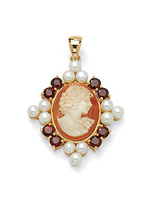 Cameo, Pearl and Garnet Pendant by PalmBeach Jewelry
