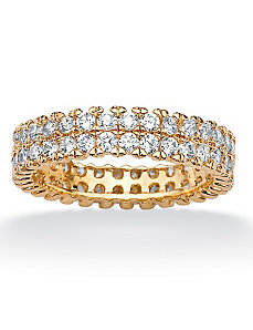 Round Cubic Zirconia Double-Row Eternity Band by PalmBeach Jewelry