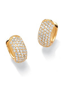 Cubic Zirconia Huggie-Hoop Pierced Earrings by PalmBeach Jewelry