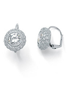 Round Cubic Zirconia Pierced Earrings by PalmBeach Jewelry