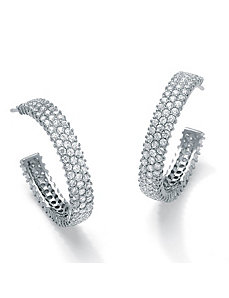 Cubic Zirconia Semi-Hoop Earrings by PalmBeach Jewelry