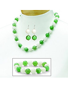 Jade & White Chalcedony Jewelry Set by PalmBeach Jewelry