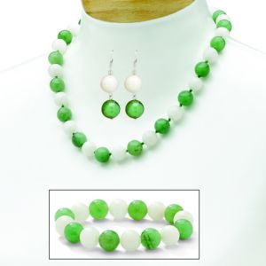Jade & White Chalcedony Jewelry Set