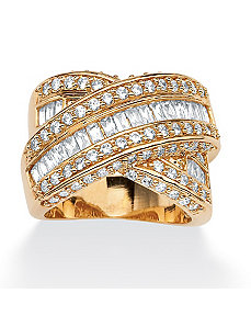 Multi-Row Cubic Zirconia Crossover Ring by PalmBeach Jewelry