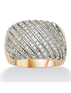 Cubic Zirconia Diagonal-Row Band by PalmBeach Jewelry